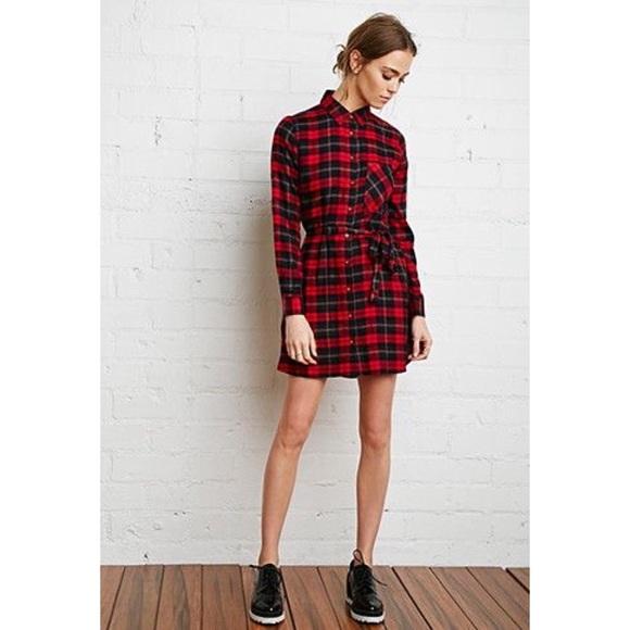 Forever 21 Dresses & Skirts - Forever 21 Red Plaid Shirt Dress Tunic